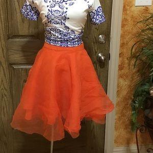 Flare orange skirt